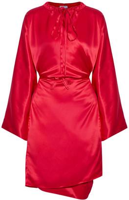 Silk-satin Midi Dress - Crimson