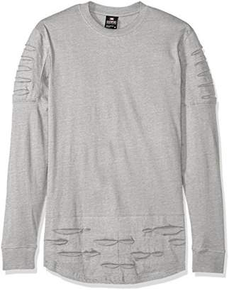 Southpole Men's Long Sleeve Ripped and Repai Scallop Tee