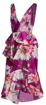 Marchesa Orchid Silk Organza Ruffle Dress