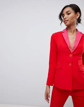 Little Mistress contrast blazer in pomegranate