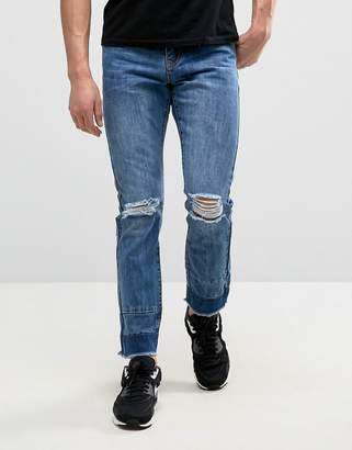 Always Rare Clarence Slim Taper Jeans Mid Wash Knee Rip Cut & Sew Hem