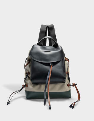 Marni Mountain Backpack in Transparent Black Green Canvas and Calfskin