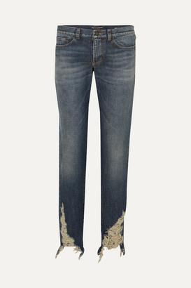 Saint Laurent Distressed Boyfriend Jeans - Blue
