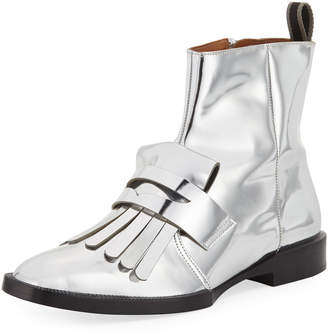 Robert Clergerie Flat Metallic Kiltie Booties