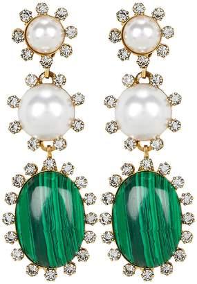 Elizabeth Cole Priscilla Malachite and Pearl Earrings