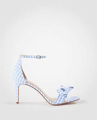 Ann Taylor Kinsley Gingham Bow Heeled Sandals