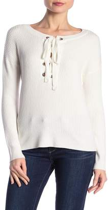 Love Stitch Lace-Up Scoop Waffle Knit Pullover