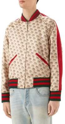 Gucci Logo Invite Stamp Silk Bomber Jacket