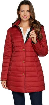 Susan Graver Reversible Snap Front Coat with Removable Hood