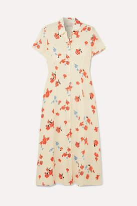 Reformation Sheila Floral-print Georgette Midi Dress - Ecru