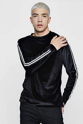 boohoo NEW Mens Velour Sweater With Sports Rib Panel in Polyester