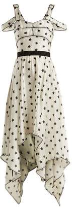 Self-portrait - Handkerchief Hem Star Print Satin Dress - Womens - White Black