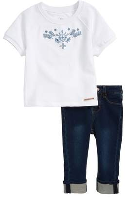 Hudson Embroidered Top & Jeans Set