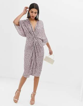 Asos DESIGN scatter sequin knot front kimono midi dress