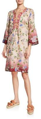 Johnny Was Floral Flare-Sleeve Tunic Linen Dress