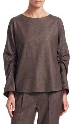 Akris Punto Wool Drawstring-Sleeve Blouse