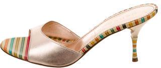 Casadei Metallic Leather Sandals $110 thestylecure.com