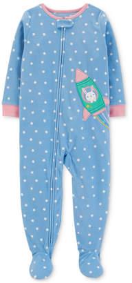 Carter's Toddler Girls Star-Print Rocket Footed Pajamas