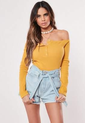 Missguided Yellow Popper Rib Bardot Bodysuit