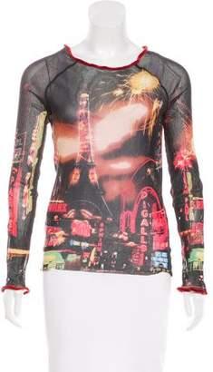 Jean Paul Gaultier Mesh Printed Top