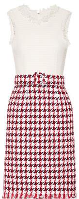 Oscar de la Renta - Fringed Houndstooth Cotton-blend Tweed Dress - Red