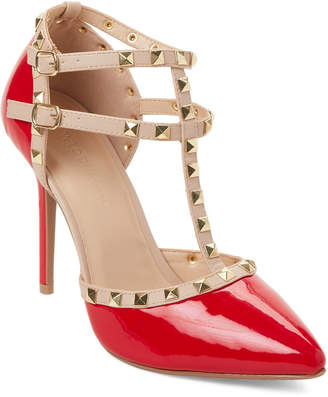 Wild Diva Lounge Red Adora T-Strap Studded Pumps