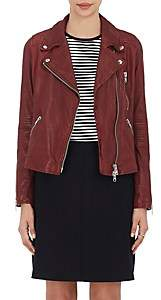 Barneys New York Women's Leather Moto Jacket-Burgundy