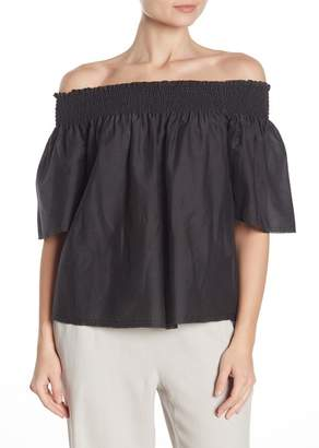 66064687665b1e Go Silk Go by Off-the-Shoulder Smocked Silk Blouse