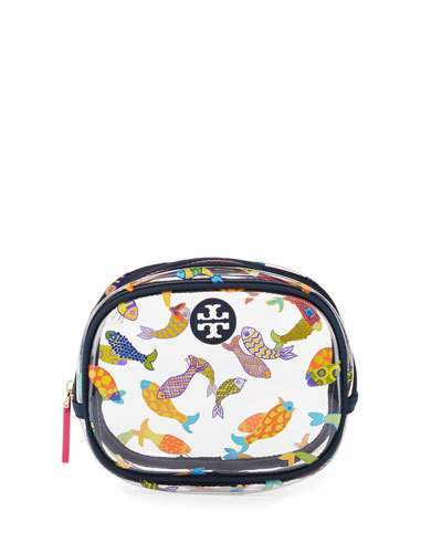 Tory BurchTory Burch Fish-Print Round Cosmetic Bag, Multi