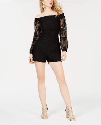GUESS Montrese Off-The-Shoulder Lace-Sleeve Romper