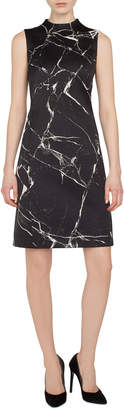 Akris Sleeveless Mock-Neck Marble Tiles Jacquard A-Line Cocktail Dress