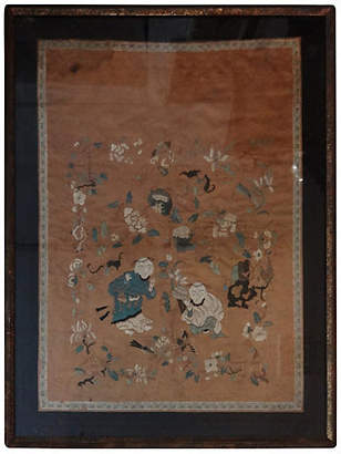 One Kings Lane Vintage Antique Embroidery Silk Panel w/Kids