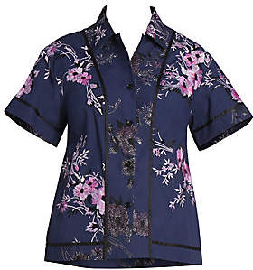 Dries Van Noten Women's Floral-Embroidered Button-Down Top