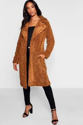 boohoo Tall Longline Teddy Faux Fur Coat