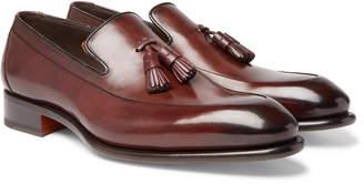 Santoni Burnished-Leather Tasselled Loafers