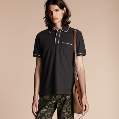 Burberry  Burberry Piped Cotton Piqué Polo Shirt