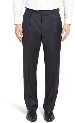 Men's Hickey Freeman Beacon Pleated Solid Wool Trousers $295 thestylecure.com