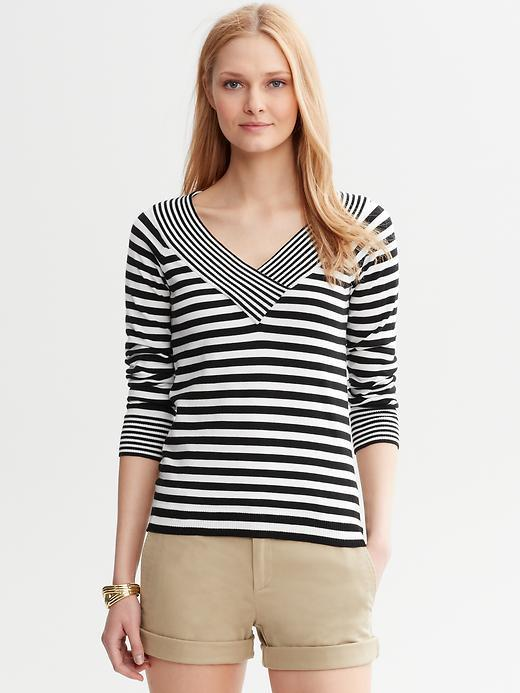 Banana Republic Multi-Stripe V-Neck Sweater