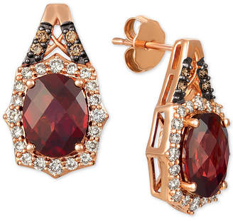 LeVian Le Vian Rhodolite Garnet (4 ct. t.w.) & Diamond (5/8 ct. t.w.) Stud Earrings in 14k Rose Gold
