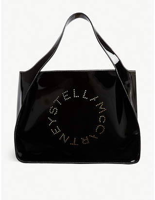 Stella McCartney Perforated logo patent faux-leather tote