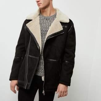 River Island Black fleece collar faux suede jacket