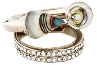Vita Fede Crystal-Accented Quartz & Abalone Doublet Double Titan Ring
