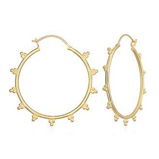 Satya Jewelry Women's Dotted Hoop Earrings