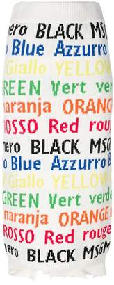 MSGM colour names knitted skirt