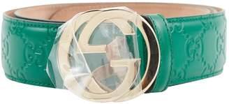 Gucci Interlocking Buckle Green Leather Belts