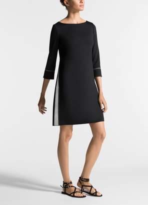 St. John Silk Contrast Milano Knit Dress