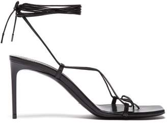 Saint Laurent Paris Wrap Around Leather Sandals - Womens - Black