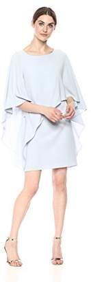 Halston Women's Flowy Sleeve Boat Neck Asymmetrical Drape Dress