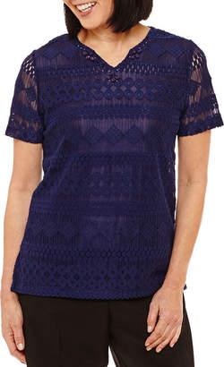 Alfred Dunner Classics Short Sleeve Split Crew Neck T-Shirt-Womens