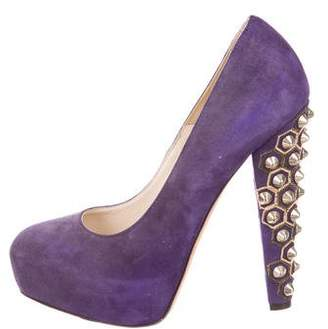 Brian Atwood Studded Suede Pumps